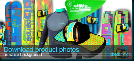 product photos of kiteboards & kitesurfing fins footpads board bags